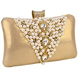 MG Collection Gold Pearl Bead / Rhinestone Brooches Hardcase Clutch Evening Bag, Bags Central