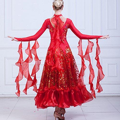 Donne Competizione Swing Paillettes Prestazione Sala Wqwlf Abiti Da Di L Ballo Le xxl Moderno Valzer Per Red Costumi Vestito EwESXRq