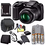 Nikon COOLPIX L340 Digital Camera (Black) (International Model No Warranty) + 4 AA Pack NiMH Rechargeable Batteries and Charger + 16GB SDHC Card + Case + Card Reader Saver Bundle