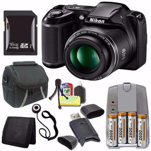 Nikon Coolpix l340デジタルカメラ(ブラック) (インターナショナルモデル保証なし) + 4 AAパックNiMH充電式電池と充電器+ 16 GB SDHCカード+ケース+カードリーダーセーバーバンドル   B016LI3YV6