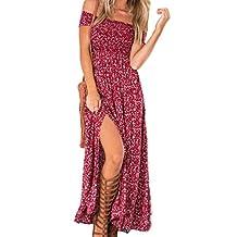Women's Elegant Strapless Off Shoulder Floral Print Slit Maxi Dress