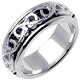 14K White Gold Celtic Love Knot Men's Comfort Fit Wedding Band (8mm) Size-9.25