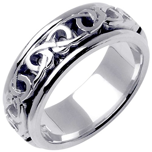 14K White Gold Celtic Love Knot Men's Comfort Fit Wedding Band (8mm) Size-9.25 by Wedding Rings Depot