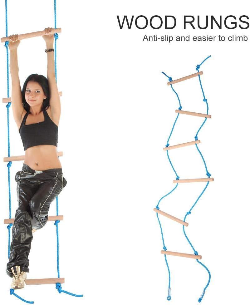 Bilinli Escalera de Cuerda de Madera para ni/ños Marco de Escalada al Aire Libre