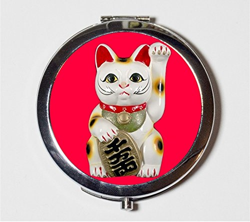 Maneki Neko Compact Mirror Japanese Lucky Cat Good Luck Japan Asian Art Kawaii Make Up Pocket Mirror for Cosmetics