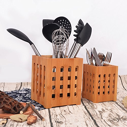 SZUAH Bamboo Utensil Holder + Flatware Holder, Large Capacity Utensil Cutlery Caddy Organizer with Drainer Holes & Lattice, 2 Pack (6.6x5.5, 5.48x4) by SZUAH (Image #6)
