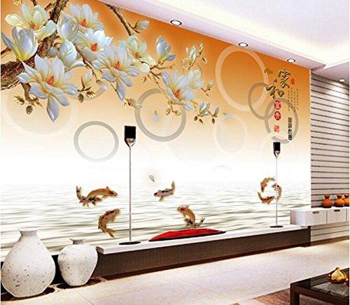 XLI-You 3D Wallpaper 3D Wallpaper Custom Mural Wall Sticker 3D Color Magnolia Carp Leap Figure Photo 3D Wall Murals Wallpaper Sticker Mural 150cmX100cm