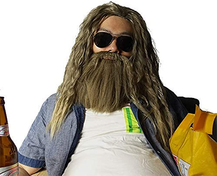 Thor Wig Thor Long Curly Golden Brown Hair And Beard Inspired By Avengers Endgame