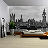 wall26 - Westminster Bridge with Big Ben in London, Black and White Version. - Removable Wall Mural | Self-adhesive Large Wallpaper - 66x96 inches