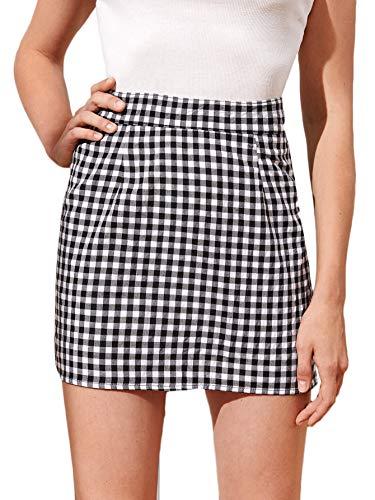 WDIRARA Women's Gingham High Waist Zip Back Summer Casual Plaid Mini Skirt Black and White S