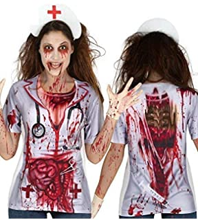 af4009fd2e038 Ladies Lithographed Printed Dead Zombie Nurse Bloody T Shirt Top Halloween  Fancy Dress…