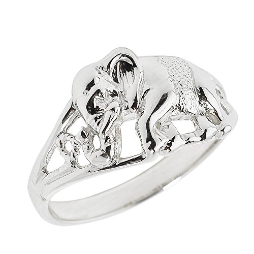 (925 Sterling Silver Open Design Indian Elephant Ring (Size)
