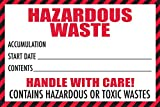 Hazardous Waste Label with Handle with Care! Contains Hazardous Or Toxic Wastes Warning, 4'' x 6'', Red and White Label (100) by Safety Supply Mart