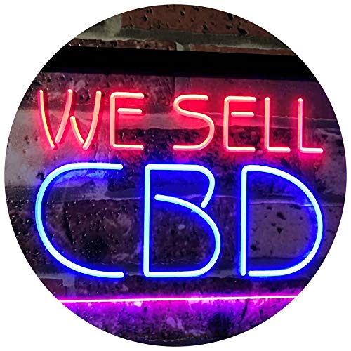 """Price comparison product image AdvpPro 2C CBD Oil Sold Here Dual Color LED Neon Sign Blue & Red 16"""" x 12"""" st6s43-i3091-br"""