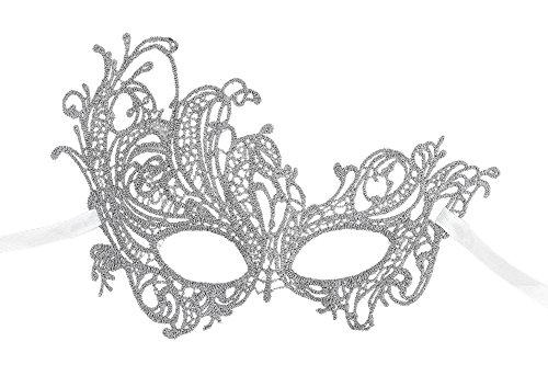 AshopZ Women's Classic Goddess Venetian Masquerade Lace Eye Mask, Phoenix_Silver ()