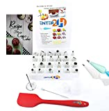 Cake Decorating Tips Supplies Kit-24 Stainless Steel Icing & Frosting Tips Set - 1 Spatula 1 Reusable Silicone & 10 Disposable Pastry Bags 2 Couplers By ENTER 2H Baking Tool Supply Piping Cake