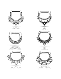 D&M Jewelry 6pcs Stainless Steel Nose Ring 14g 16g Septum Clicker Bull Ring Nose Piercing
