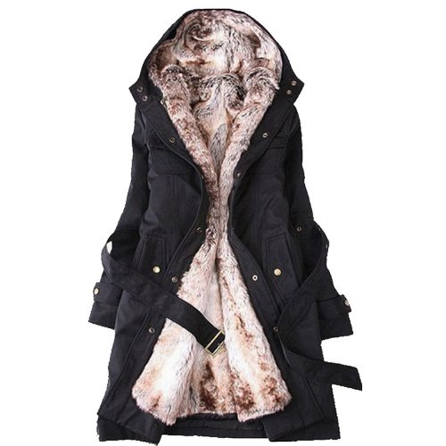 Women Thicken Fleece Faux Fur Warm Winter Coat Chinese XL Black