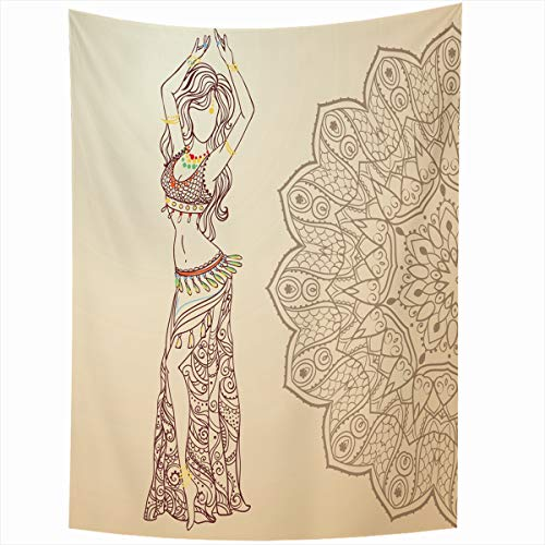 Ahawoso Tapestry Wall Hanging 50x60 Inches Necklace Red Arab Girl Belly Dance Abstract Dress Ballet Gold India Dancer Design Navel Home Decor Tapestries Art for Living Room Bedroom Dorm