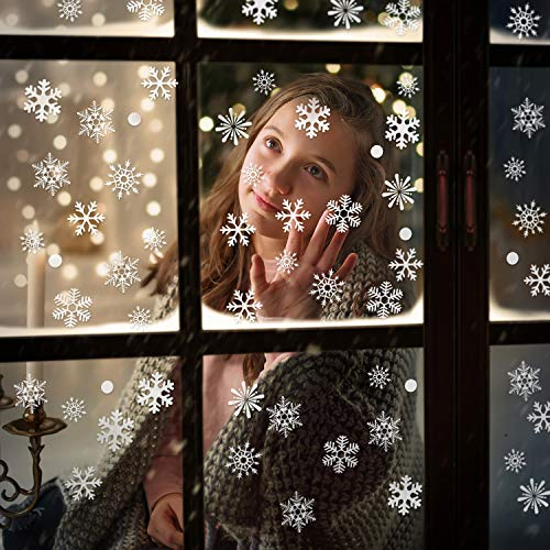 550 Pieces Christmas Snowflake Window Clings Stickers White Snowflakes Static Clings Decal for Christmas Holiday New Years Winter Party Decoration, 10 Sheets Totally (Style Set 2)