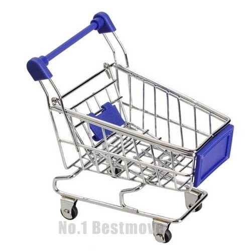 New Blue Mini Toy Shopping Cart Pen Pencil Sticky Notes Holder Desk Organizer