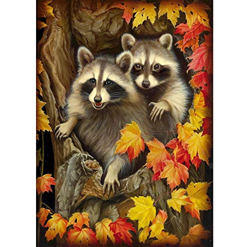 DIY 5D Diamond Painting by Numbers Kits, Raccoons on The Tree Animals, Full Drill Rhinestones Paint with Diamonds Crystal Diamond Art (Raccoons)