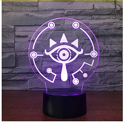 Sykdybz The Legend of Zelda 3D Led Table Lamp Breath of The Wild Link Nightlight 7 Color Changing Visual Illusion Light ()