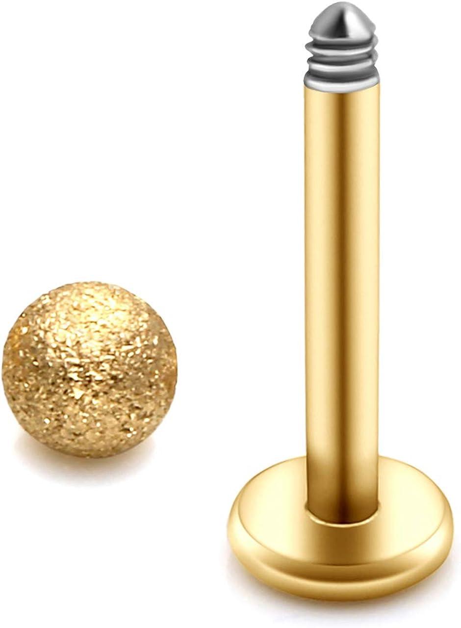 BOPREINA 8-10PCS 16G Stainless Steel 3mm Matte Ball Labret Monroe Lip Ring Tragus Helix Cartilage Earring Stud Barbell 8mm Bar Length Body Piercing Jewelry