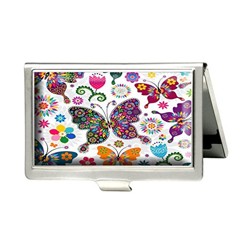 Caikem Colorful Butterfly and Flower Custom Personalized Stainless Steel Silver Business Card Holder Pocket Business Name Credit Card ID Card Wallet