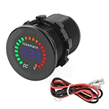 Voltmeter Capacitance Scale Meter Battery Indicator Gauge LED Display Electricity Meter with Fuse Wire for Motorcycles Electromobile Car RV (Black)
