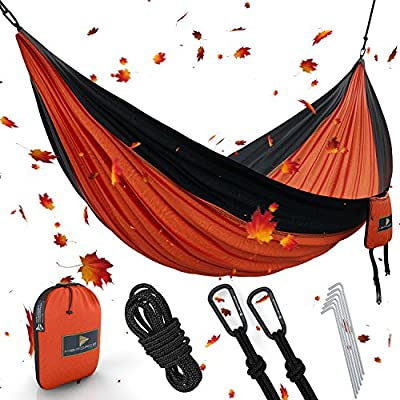 """Best XL Double Camping Hammock Waterproof Lightweight Parachute 240T Portable Hammock, 2 Heavy-Duty 1500 lbs Capacity Carabiners, with 2 Tree strap For Outdoor Backpacking Indoor 118""""L x 78""""W"""