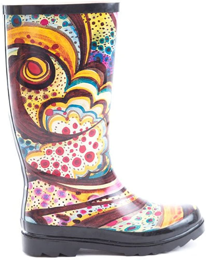 Soho Shoes Women's Rubber Knee High Abstract Waterproof Rain Boots