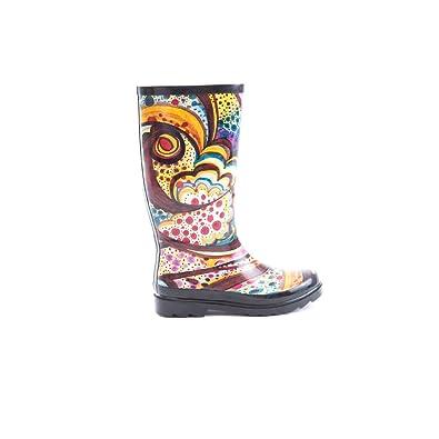 Women's Rubber Knee High Abstract Print Rain Boots