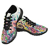 InterestPrint Women's Jogging Running Sneaker Lightweight Go Easy Walking Casual Comfort Running Shoes Size 7 Summer Flowers in Garden