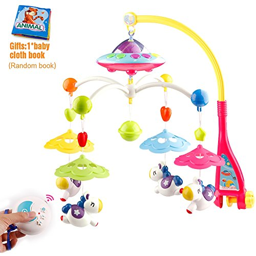 Minitudou Baby Toys Crib Mobile Musical Bed Bell With Remote Control Cartoon Animal Rattles Projection Music Box Early Learning Kids Toy For 0-6 (Sleep Mobile)