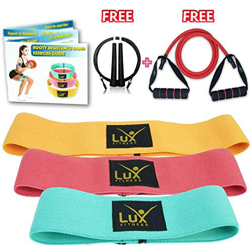 Lux Fitness Booty Resistance Bands Loop Hip Exercise Workout - Set of 3 Stretchable Elastic Thick Loop Bands for Butt, Leg and Thigh, for Men, Women, Free Tube Resistance Band + Jumprope