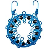 AOCK Pack Portable Clothesline Retractable Portable Travel Outdoor Windproof Clothes Line with 12 Wire Clips (Blue)