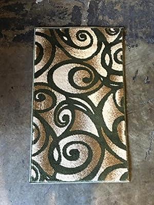 Modern Area Rug Green Bellagiio Design 341 (8 Feet X 10 Feet 6 Inch )
