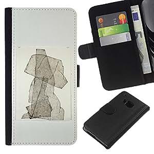 Stuss Case / Funda Carcasa PU de Cuero - Cachorro Resumen de la acuarela del cartel - HTC One M7