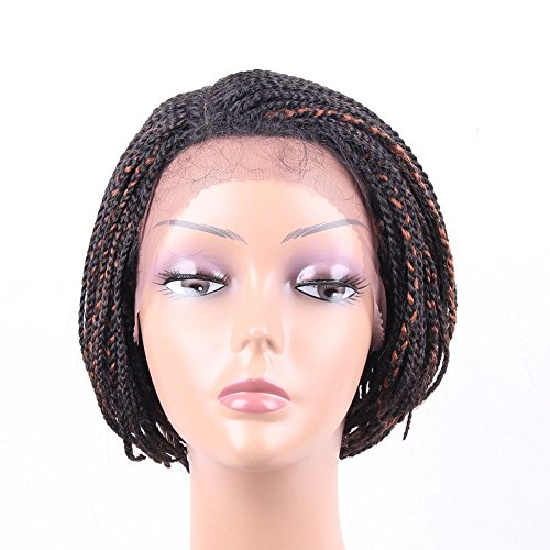 HAIR WAY Lace Front Braided Wigs for Black Women with Baby Hair 6inches Braided Wigs Short Bob Lace Wigs for Daily Wear Half Hand Tied #1B/30