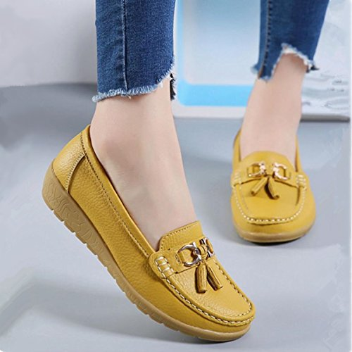 Boat Leather yellow Walking Loafers Shoes Skid Slip Women Flats Oxford V Anti On pT5zxqw