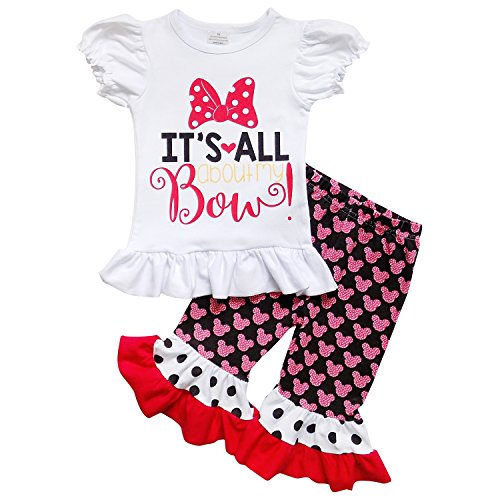 So Sydney Girls Toddler 2-3 Pc Polka Dot Minnie Mouse Ruffle Pants Tee Outfit (M (4T), About My (Minnie Outfit)