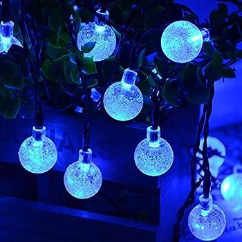 Qedertek Solar Christmas String Lights, Outdoor Globe Lights 20ft 30 LED  String Light Crystal Ball