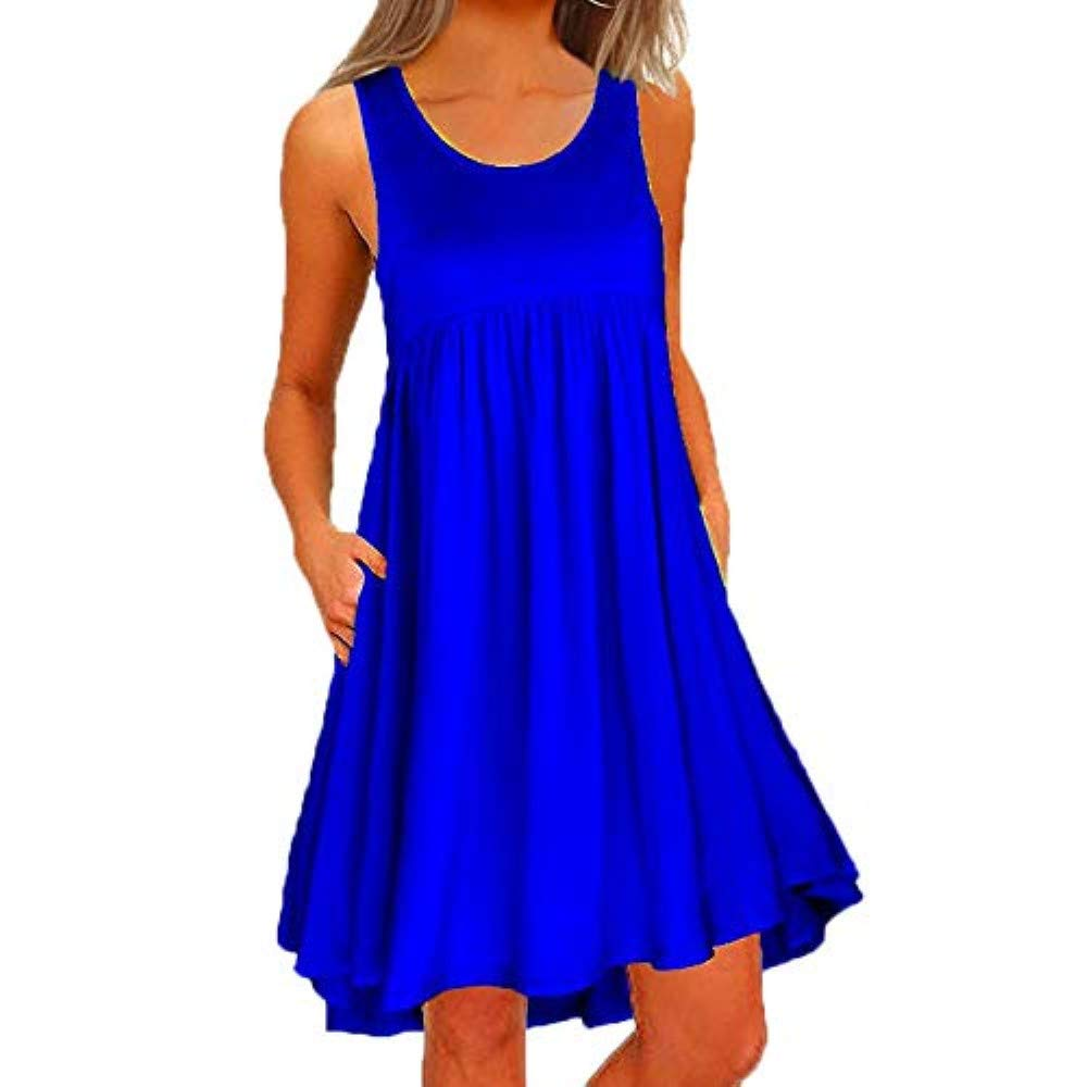 Evening Skirts for Women,Women O Neck Casual Lace Sleeveless Above Knee Dress Loose Party Mini Dress,Blue,S