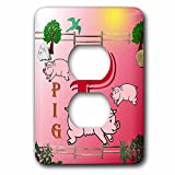 3dRose lsp_52993_6 Decorative Animal Alphabet Art for Children  P Is for Pigs Playing in The Pen  2 Plug  Outlet Cover