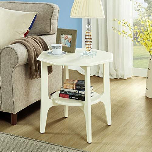 HY Marble Small Side Table American Sofa Side Several Household Coffee Table Living Room (Color : White)