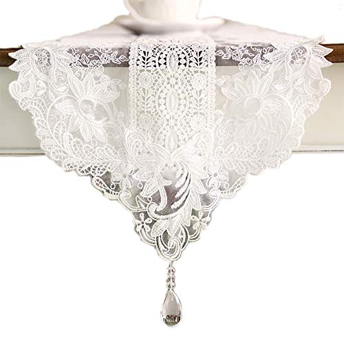 - KEPSWET Polyester Lace Flouncing White Table Runner, 12 x 48 inch, Nordic Style Party Banquet Holidays Doily, Summer Tea Dining TV Dresser Home Decorations