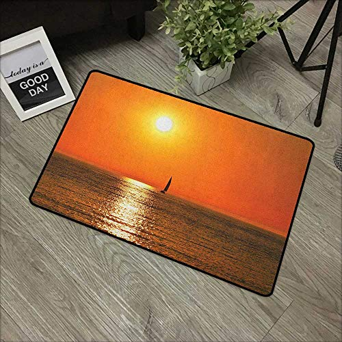 Buck Haggai Durable Cat Litter Mat Nautical,Small Yacht Sailboat on Lake Michigan at Sunset Nautical Serenity Maritime Culture, Orange,for Patio, Front Door, All Weather Exterior Doors,30