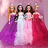 "Gorgeous Flower Pearl Princess Gown Evening Party Dress Doll Clothes Outfit for 12"" Barbie Doll"