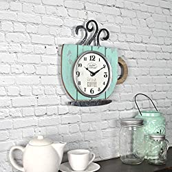 FirsTime & Co. Coffee Shop Wall Clock, 10H x 9.5W, Distressed Teal